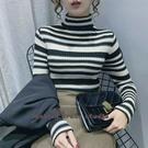 依多多 條紋毛衣女內搭洋氣韓版秋冬新款半高圓領套頭修身針織打底衫