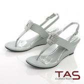TAS華麗白鑽飾扣夾腳楔型涼鞋-薄荷綠