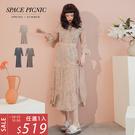 長袖 洋裝 Space Picnic|碎花V領荷葉五分袖雪紡洋裝(現+預)【C20033074】