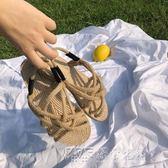 日式藤草手工編織涼鞋涼拖百搭綁帶平底鞋羅馬海邊懶人 探索先鋒