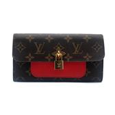 【台中米蘭站】全新品 Louis Vuitton 帆布拚牛皮鎖頭釦式長夾 (M62566-咖)