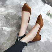 秋中跟粗跟鞋子 淺口尖頭鞋 上班工作鞋【多多鞋包店】z6394