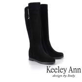 ★2018秋冬★Keeley Ann獨特魅力~金屬垂釣飾釦內增高平底長靴(黑色)