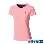 K-SWISS KS Print W/Mesh Tee排汗T恤-女-粉橘
