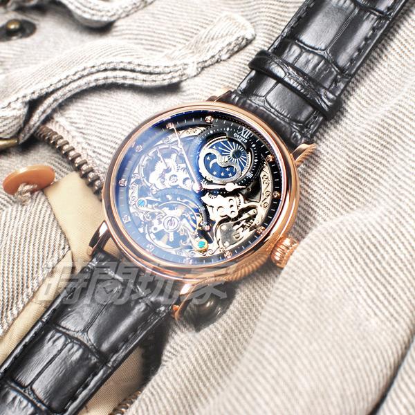 KINYUED 日月相 三眼男錶 陀飛輪全自動機械錶 防水 手錶 玫瑰金色 鏤空 K055玫黑