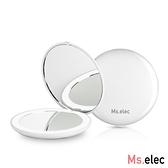 Ms.elec米嬉樂 LED迷你補光化妝鏡 珍珠白x2