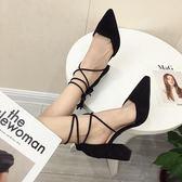 女高跟鞋 韓版女鞋子 新款春綁帶涼鞋粗跟流蘇鞋黑色尖頭單鞋士尖頭高跟鞋《小師妹》sm3353