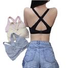 EASON SHOP(GW6339)實拍無痕美背交叉鏤空無鋼圈圓領吊帶運動內衣背心女上衣服彈力貼身內搭衫小可愛