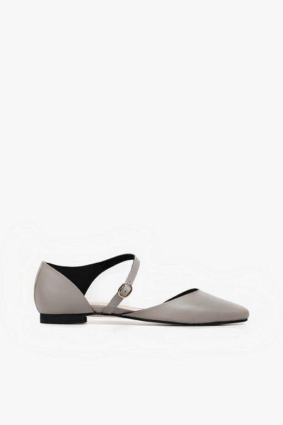 ALL BLACK   優雅扣帶平底鞋(灰色)