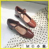 粗跟鞋 復古淺口一字扣單鞋粗跟方頭鞋