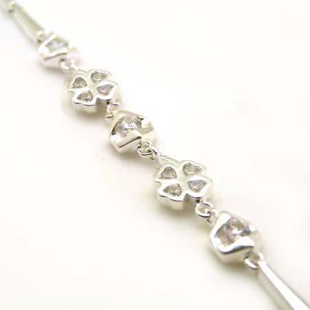 純銀鋯石幸運草手鍊