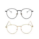 珍珠金屬框眼鏡 韓系文青氣質女生必備金屬框復古眼鏡 珍珠球裝飾細邊圓框平光鏡 透明鏡片 現貨