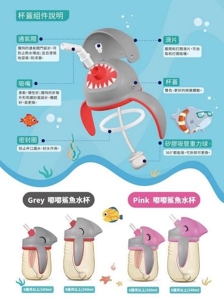 Jolly 嘟嘟鯊魚水杯/學習杯/訓練杯 160ml (粉/灰)