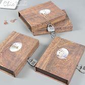 日韓創意復古帶鎖密碼本小清新學生送禮多功能禮品筆記本日記鎖本「七色堇」
