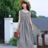 文藝復古棉麻洋裝連衣裙秋冬中長款無袖格子背心裙子洋裝連衣裙