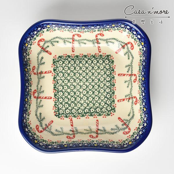 波蘭陶 拐杖糖系列 方形深餐盤 陶瓷盤 菜盤 沙拉盤 水果盤 焗烤盤 20cm 波蘭手工製【美學生活】