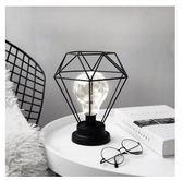 鑽石小夜燈 鐵藝 檯燈 LED 極簡造型 生日禮物 復古 北歐 愛德生燈泡