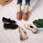 秋冬季韓版學生復古粗跟皮鞋子【多多鞋包店】z4309