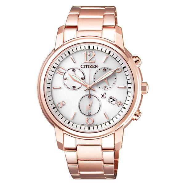 CITIZEN 星辰 (FB1432-55A)xC 光動能防水 玫瑰金 三眼計時 女錶