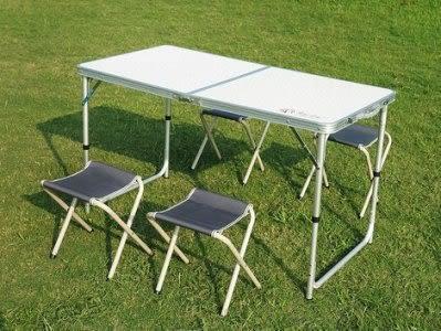 戶外鋁合金摺疊桌  野餐桌子  帶四個摺疊凳【潮咖範兒】