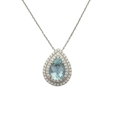 Tiffany & Co 蒂芬妮 梨形海藍寶石鑲鑽石鍊墜 Soleste Aquamarine 【BRAND OFF】