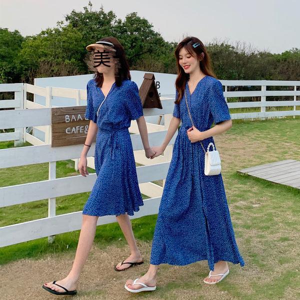 VK旗艦店 韓系開叉V領系帶短袖波點長版短版短袖洋裝