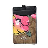 美國正品 COACH 緹花LOGO防刮皮革識別證掛帶票卡夾-塗鴉玫瑰【現貨】