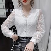 現貨寄出 刺繡蕾絲襯衫女秋冬新款修身百搭洋氣開衫設計感長袖打底上衣