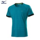 MIZUNO 男裝 短袖 T恤 慢跑 吸汗快乾 反光燙印 松石綠【運動世界】J2TA050337