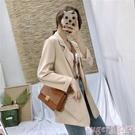 西裝外套 春季2021新款CHIC復古兩粒扣西裝外套女韓版寬鬆春裝網紅杏色西服 suger 新品