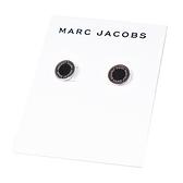 美國正品 MARC JACOBS 圓牌LOGO針式耳環-黑/銀【現貨】