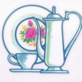 美飾茶具轉印膠片 7.5*7.5cm(6入)