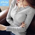 【V0321】shiny藍格子-隨性春日.純色修身顯瘦圓領長袖上衣