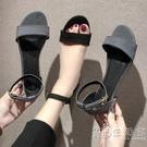 復古港味鞋子chic涼鞋夏學生平底新款百搭韓版羅馬鞋一字女鞋  小時光生活館