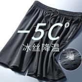 男速干冰絲五分褲夏季薄款跑步健身寬鬆休閒網眼空調褲子 【快速出貨】
