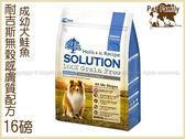 寵物家族*-耐吉斯敏感膚質無穀配方成幼犬鮭魚口味16LB