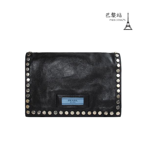 【巴黎站二手名牌專賣店】*現貨*PRADA 真品*小藍標 Etiquette Flap Bag 黑色斜背包