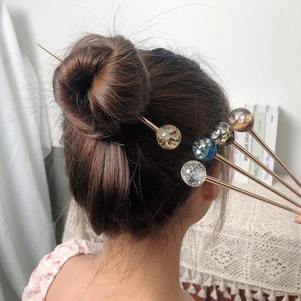 髪簪日系ins盤髪簪子復古風璀璨星空丸子頭髪飾女網紅優雅百搭 髪插