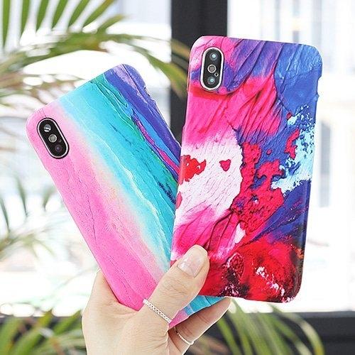 韓國 油畫色彩 硬殼 手機殼│iPhone 6 6S 7 8 Plus X XS MAX XR 11 Pro LG G7 G8 V40 V50│z8514