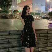 【GZ5B4】實拍 夏季網紅bling亮片針織連身裙洋裝腰部綁帶設計收腰氣質連身裙洋裝