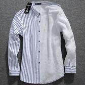 男士保暖襯衫男長袖加絨加厚襯衣服冬季韓版修身青年加棉打底寸衫