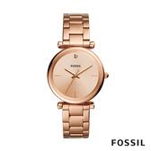 FOSSIL CARBON 玫瑰金不鏽鋼女錶 35mm