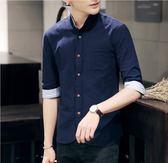 男士襯衫 立領七分袖正韓修身中袖襯衣 艾米潮品館