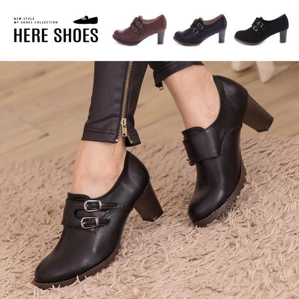 [Here Shoes]2色 韓版簡約皮革 踝靴短靴 舒適魔鬼氈穿脫 舒適粗中跟 ◆MIT台灣製─KC3366A