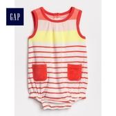 Gap女嬰兒 舒適條紋圓領無袖包屁衣 467680-粉彩色條紋