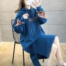 衛衣裙洋裝中長款加絨加厚衛衣裙女秋冬新款韓版高瘦女生穿搭過膝衛 快速出貨