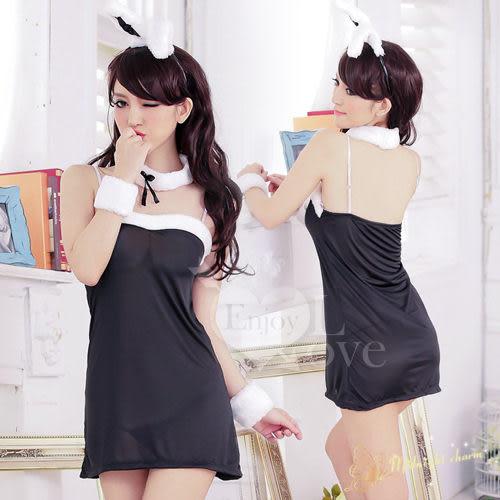 角色扮演兔女郎服 頑皮女郎!甜美兔女郎五件組﹝黑﹞ 情趣睡衣 兔子裝 女衣