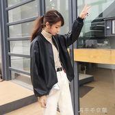 8223#皮衣女寬鬆外套春秋bf風PU皮棒球服韓版學生帥氣皮夾克千千女鞋