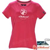 Wildland 荒野 0A71637-17嫣紅色 女彈性印花經典抗UV上衣 POLO領/涼爽散熱/吸濕快乾/登山/運動休閒
