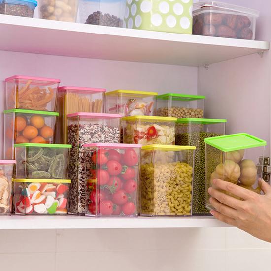 彩蓋疊加儲物罐(1640ML) 廚房 食物 食品 五穀 雜糧 涼拌 料理 透明 堅果【N48】慢思行